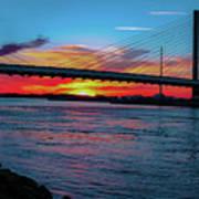 Beautiful Sunset Under The Bridge Poster