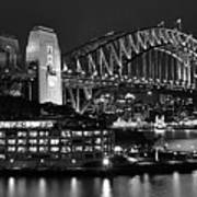 Beautiful Sydney Harbour In Black And White Poster
