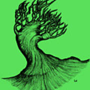 Beautiful Tree In Color Nature Original Black And White Pen Art By Rune Larsen Poster