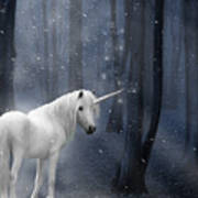 Beautiful Unicorn In Snowy Forest Poster