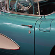 Beautiful Vintage Blue Shining Car Close Up Poster