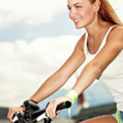 Beautiful Woman On The Bicycle Poster