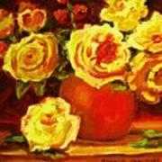 Beautiful Yellow Roses Poster