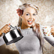 Beautiful Young Retro Woman With Cup Of Coffee Poster