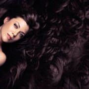 Beauty Portrait Of Woman Surrounded By Long Brown Hair  Poster