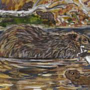 Beaver Family Animal Vignette Poster