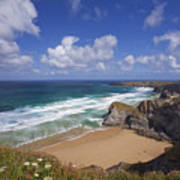 Bedruthan Steps Beach And Atlantic Surf In Summer Sun Cornwall  Poster