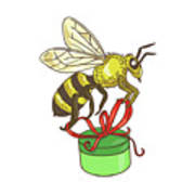 Bee Carrying Gift Box Drawing Poster