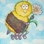 Bee Happy Whimsical Watercolor Poster