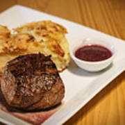 Beef Steak With Potato And Cheese Bake Poster