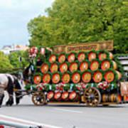Beer Barrels On Cart Poster