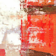 Behind The Corner - Warm Linear Abstract Painting Poster