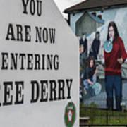 Belfast Mural - Free Derry - Ireland Poster