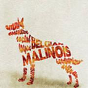 Belgian Malinois Watercolor Painting / Typographic Art Poster
