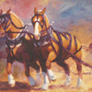 Belgian Team Pulling Horses Painting Poster