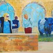 Belted Galloway Cows And People At Exeter Cathedral Poster