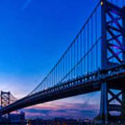 Ben Franklin Bridge At Sunset Poster