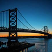 Ben Franklin Bridge In Philadelphia At Dawn Poster