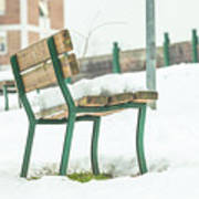 Bench With Snow Poster