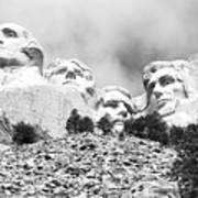 Beneath Mount Rushmore National Monument South Dakota Black And White Poster