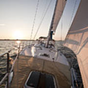 Beneteau 49 Sailing Yacht Close Hauled Charleston Sunset Sailboat Poster