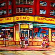 Ben's Delicatessen - Montreal Memories - Montreal Landmarks - Montreal City Scene - Paintings  Poster
