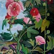 Bent Hollyhocks Poster