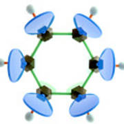 Benzene Molecule Poster by Lawrence Lawry