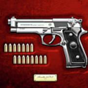 Beretta 92fs Inox With Ammo On Red Velvet  Poster