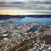 Bergen Norway Aerial Poster