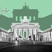 Berlin Brandenburg Gate - Graphic Art - Green Poster