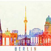 Berlin Landmarks Watercolor Poster Poster