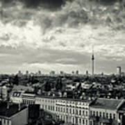 Berlin Skyline And Roofscape -black And White Poster