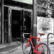 Berlin Street View With Red Bike Poster by Ben and Raisa Gertsberg
