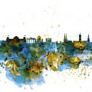 Berlin Watercolor Skyline Poster