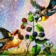 Berries And Birds Poster
