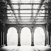 Bethesda Terrace In Black And White Poster