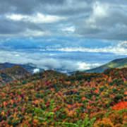 Between The Clouds Blue Ridge Parkway North Carolina Art Poster