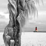 Beyond The Ice Reaper's Grasp -  Menominee North Pier Lighthouse Poster