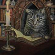 Bibliocat Reads To His Friends Poster