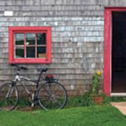 Bicycle At Barn Poster
