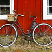 Bicycle In Front Of Red House In Sweden Poster