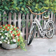 Bicycle On Fence Poster