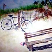 Bicycle On The Beach Poster