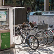 Bicycle Parking And Smoking Station In Tokyo Japan Poster