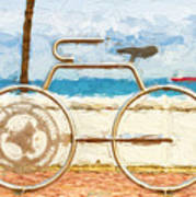 Seaside Bicycle Stand Poster