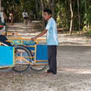 Bicycle Taxi Inside The Coba Ruins  Poster