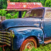 Big Blue Chevy At The Farm Poster