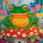 Big Green Frog On Red Mushroom Poster