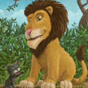 Big Lion Small Cat Poster